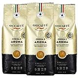 O'ccaffe 100% Arabica Kaffee | extra langsame Trommelröstung | aus italienischem Familienbetrieb | lieblich, komplexer Charakter aus 3 Bohnen-Sorten | 3x1kg ganze Bohnen