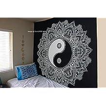 Raajsee - Tapiz colgante de pared, estilo mandala, diseño de yin yang, color blanco y negro