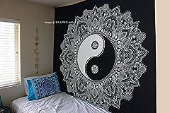 Idea Regalo - Arazzo in cotone indiano con motivo mandala in bianco e nero, ottimo regalo di Natale, 220x 230 cm, Cotone, Yin Yang, 220*240