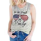 Tanktops Frauen, Dasongff Damen Weste Tank Top American Flag Bedrucktes Ärmelloses Shirt T-Shirt Bluse Sommer Tops Oberteile Trägertop (XL, Gray)