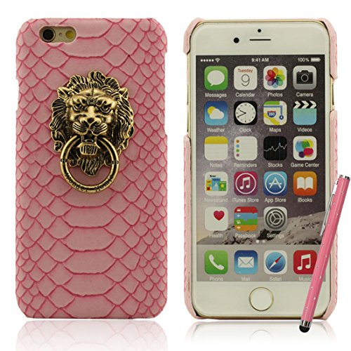 iPhone 7 Coque Case Dur Plastique Gel Housse de Protection Anti Choc Créatif Metallo Lion Head / Bague Titulaire Mince Poids léger Etui Apple iPhone 7 4.7 inch X 1 stylet rose