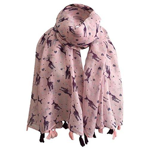 Sannysis Damen Schal übergroßer Streifen Tassel Muster Oversized Fransen (Rosa) (Streifen-schal Stricken)