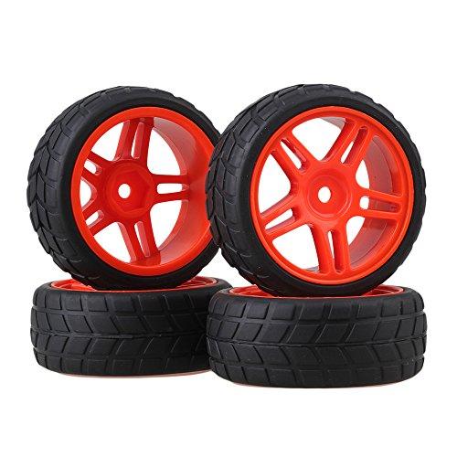 BQLZR RC 1: 10 On-Road Racing Car roten fünfzackigen Stern, Felgen & Reifen Schwarz 4er Pack (Rote Und Schwarze Felgen)