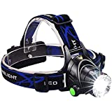 BSITFOW Rechargeable Head Torch | Hands Free Head Flashlight LED Lmap Water Resistant Drop Resistant Head Lamp Spotlight for Camping Fishing Running Cycling Best Super Bright Headlamp Light