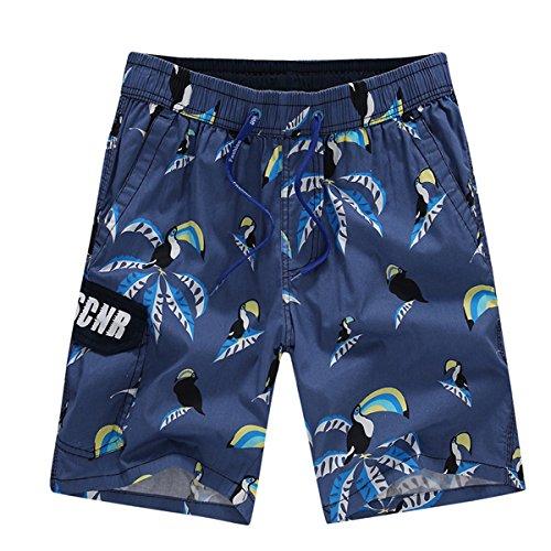 HOOM-Nouveau pantalon de plage d'été occasionnels Shorts hommes Camo coton taille lâche cinq pantalons shorts Grey n