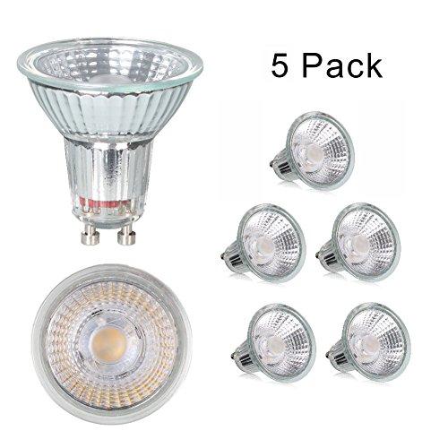 Integrierte Halogen Beleuchtung (GU10 LED Lampen, ersetzt 50W Halogenlampen MR16 5W Warmweiß 36° Abstrahwinkel Glas Strahler LED Birnen Leuchtmittel 350lm nicht dimmbar, AC220-240V , integrierte Beleuchtung, 5 Stück)