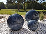 garten-wohnambiente Kugelbrunnen 30 cm Marmor blau Edelstahl Komplettset Kugel Wasserspiel