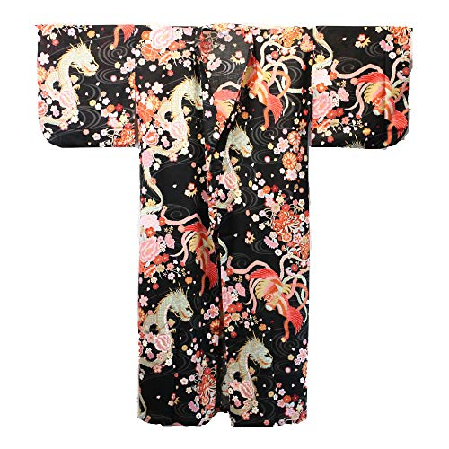Kyoto SEN\'I Japanischer Kimono - Yukata Dragon & Phönix schwarz