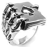MENDINO da uomo in acciaio inox anello gotico teschio mano artiglio Poker Carte da gioco nero argento con regalo pouth, acciaio inossidabile, 22, cod. JRG0094SI-6