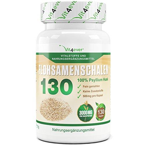 Flohsamenschalen 130 Kapseln - 3000 mg pro Tagesportion - 100% Psyllium Husk - Flohsamen fein gemahlen - Premium Qualität - Vit4ever (Husk Kapseln 100 Psyllium)