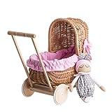 Landau-poussette pour poupée en osier et roues en bois avec tissu rose et blanc