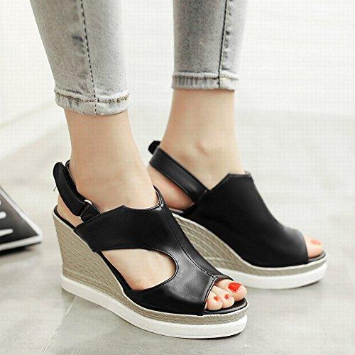 Mee Shoes Damen modern bequem populär Peep toe Keilabsatz Slingback Klettband amtungsaktiv Blockabsatz Sandalen Schwarz