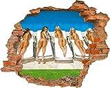 Carta da parati foto 3D Foro nella parete Belle Ragazze Taning dorsi presso la piscina