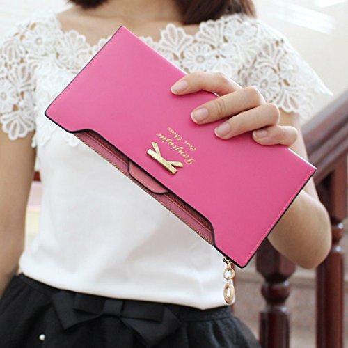 Multi-sottile signora femminile portafoglio lungo tratto del fatture della carta di Bit cartella zip Due Fold Wallet Clutch ( colore : Nero ) Rosy Red