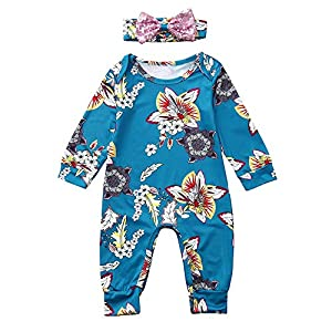 BaojunHT Infant Girls Sleepwear Floral Print Jumpsuit Long Sleeve Romper+Headband 2PCS Suit