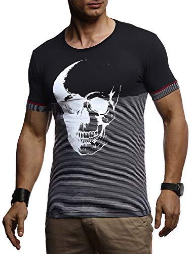 ommer T-Shirt Rundhals-Ausschnitt Slim Fit Baumwolle-Anteil | Basic Männer Totenkopf T-Shirt Crew Neck Hoodie-Sweatshirt Kurzarm lang | LN4795 Schwarz Small ()