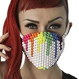 Kandi Gear Mascara Kandi Arcoiris de Pintura Goteando Blanca, mascara de rave, mascara para halloween, mascara con cuentas, mascara para festivales musicales y fiestas