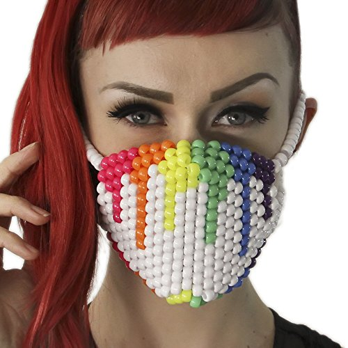 Rainbow Paintball Drip White Kandi Mask by Kandi Gear, rave mask, halloween mask, beaded mask, bead mask for music fesivals and parties