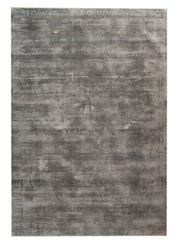 Tapima Shiny Silk grau/silber | moderner designer Teppich aus hochwertiger Viskose handgewebt | 120 x 170 cm