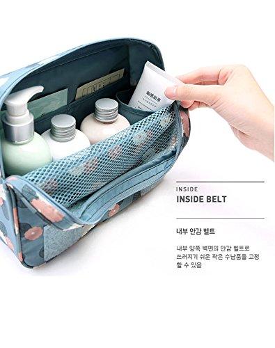 Freesoar Portable Hang Reise-Kulturbeutel Organisieren Kosmetik Frauen Make-up Outdoor-Kit mit Hängen Haken (rote Blume) Gelb