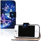 tinxi® Kunstleder Tasche für Apple iPhone 4 4S Schutzhülle Flipcase Case Cover Schale Etui Skin Standfunktion mit Karten Slot Schmetterling