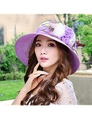 Sombrero de paja femenino de verano Sombrero de playa plegable de viaje Gafas de sol de gorro grande Visera de sombrero de verano femenino de verano ( Color : # 5 )