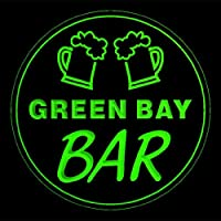 4x ccpv2312-g GREEN BAY Mug Glass Home Brew Bar Beer Etched Engraved 3D Coasters