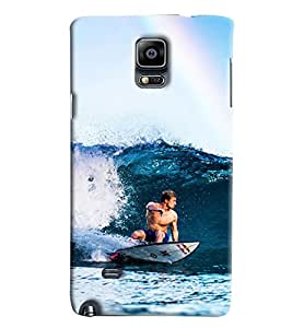 Blue Throat Men Surfing In Sea Hard Plastic Printed Back Cover/Case For Samsung Galaxy Note 4
