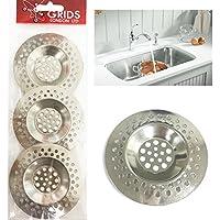 Grids London 3 x Sink Strainer Bath Basin Plughole Filter Kitchen Metal Strainers