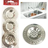 Grids London 3 x Sink Strainer Bath Basin Plughole Filter Kitchen Metal Strainers