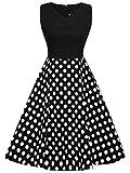 FAIRY COUPLE 50er V-Ausschnitt Rockabilly Polka Blumen Jahrgang Kleid Cocktail DRT072(XL,Schwarz + Schwarz Weiß Punkte)