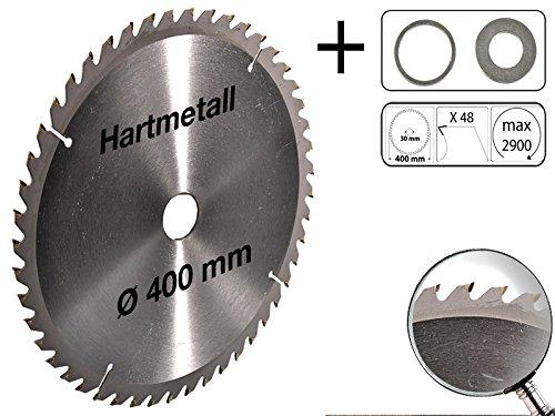 Kreissägeblatt Hartmetall 400 x 30 mm 48 Z + 2 Reduzierringe auf 25,4 und 16 mm