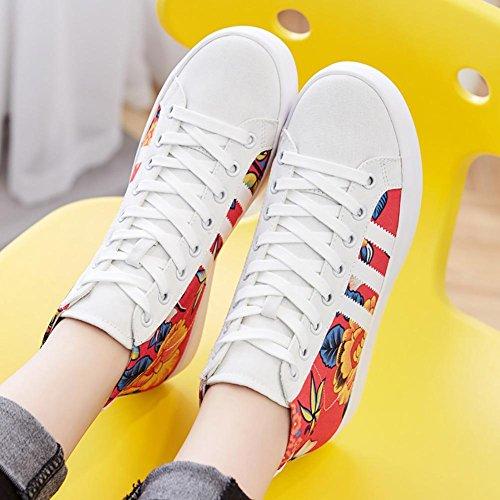 SONGYUNYANOccasionnels Collège vent graffitis des femmes Hi baskets mode chaussures en toile White