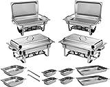 ZORRO - 4x Chafing Dish Speisewärmer Profi Set 15-Teilig in Gastro Qualität Warmhaltebehälter Edelstahl Buffet-Set