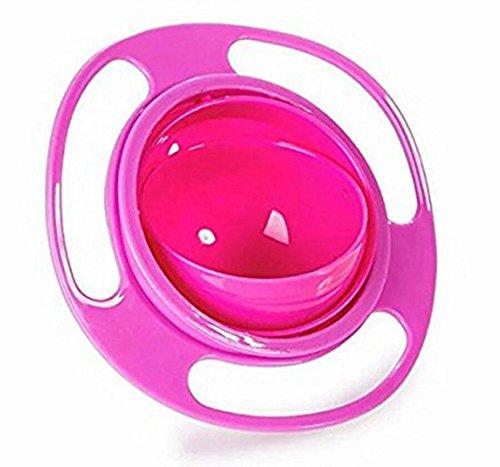 YOIL Cuenco giratorio para bebés y niños con capacidad para 360 alimentos, a prueba de derrames, color rosa