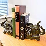 Elefant Buchstützen Ornaments Holz/Holz Effekt Antiker Vintage-Stil dunkelbraun
