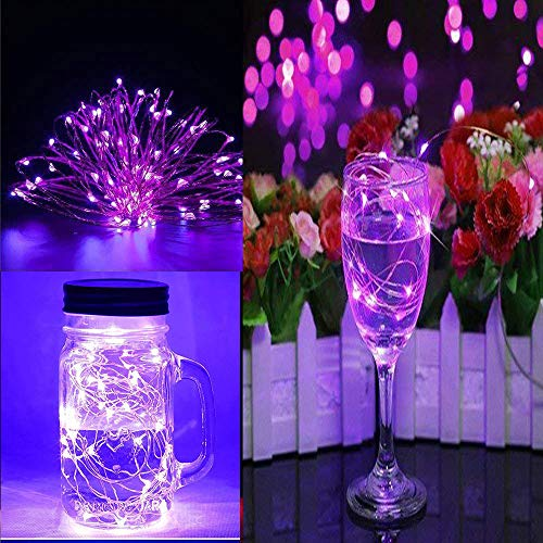 (ODJOY-FAN 6 Stück 3m 30LED Fee Licht Zeichenfolge Licht Batterie Sternenklar Zeichenfolge Kupfer Draht Dekor Weihnachten Wohnaccessoires Beleuchtung String Light (Lila,6 PC))
