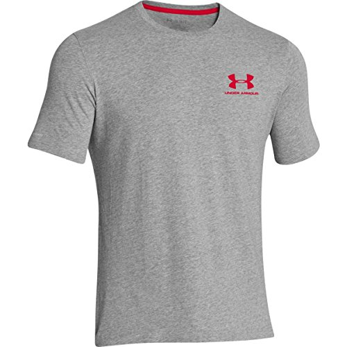 Under Armour Herren Fitness Cc Left Chest Lockup Kurzarm T-Shirt, Grau True Gray Heather/Red, S - Short Sleeve Rugby Shirt