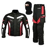 REXTEK All Weather Motorradanzug Gepanzert 2 Stück Anzug Motorrad Motorrad Wasserdichte Anzugjacke + Hosen CE Armor + FREE BALACLAVA