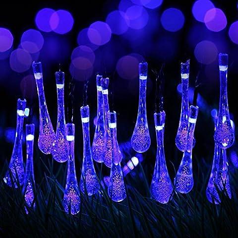 hommii 20ft 30LED Catena Di Luci Solari gocce d' acqua illuminazione da esterno per party Natale decorazione giardino Outdoor