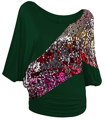 SMITHROAD Damen T-Shirt mit Pailletten Applikationen Fledermaus Shrit Top Kurzarm Dehnbar Rundhalsausschnitt Loose Fit Grün