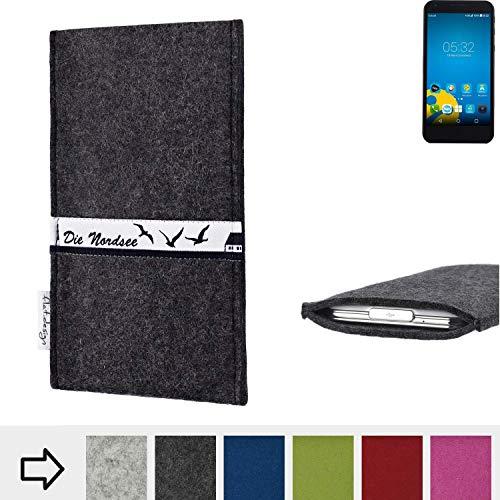 flat.design für Vestel 5000 Dual-SIM Schutzhülle Handy Tasche Skyline mit Webband Nordsee - Maßanfertigung der Schutztasche Handy Hülle aus 100% Wollfilz (anthrazit) für Vestel 5000 Dual-SIM