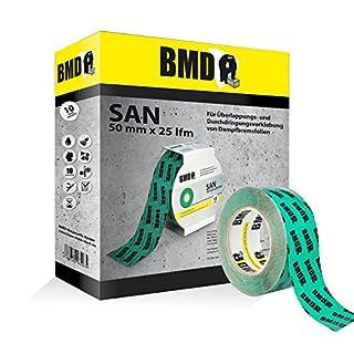 BMD - san Klebeband (Grün - 50mm x 25lfm) zur Verklebung von Dampfsperrfolien, Dampfbremsfolien, Dampfbremse, Dampfsperre