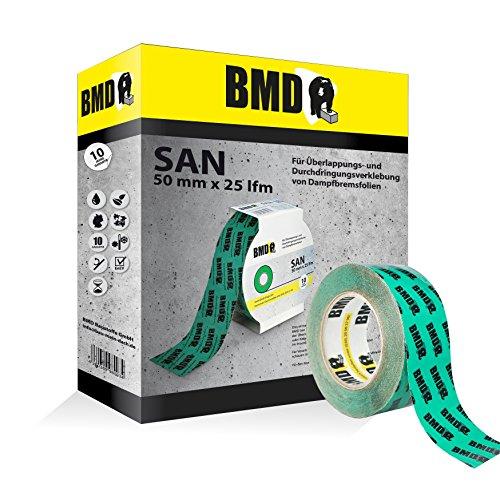 BMD - san Hochleistungsklebeband (Grün - 50mm x 25lfm) zur Verklebung von Dampfsperrfolie Dampfbremsfolie Dampfbremse Dampfsperre nach DIN Norm 4108 Teil 7 Klebeband