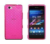 Luxburg® Diamond Design Schutzhülle für Sony XPERIA Z1 Compact in Farbe Rosenquartz Pink / Rosa, Hülle Case aus TPU Silikon