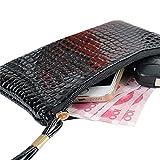 QinMM Damen Krokodilleder Clutch Handtasche Tasche Geldbörse Mädchen Moderne Mode Tasche Geldbörse 19 cm (L) × 11 cm (H) × 1,5 cm (W) (Schwarz)