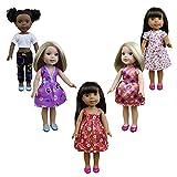 ZITA ELEMENT 5 pezzi costumi giornalieri Gown vestiti adatti per American Girl Doll e altri 14,5 pollici Wellie Wisher vestiti per le bambole per il regalo di Natale