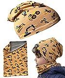 HECKBO® Set berretto e sciarpa per bambini - per primavera, estate, autunno e inverno - berretto reversibile per veicoli da costruzione - da 2 a 7 anni - 95% cotone