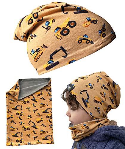 HECKBO® Kinder Jungen Beanie Mütze & Loop-Schal Set - für Frühling, Sommer, Herbst & Winter - Wendemütze Baufahrzeuge - 2 bis 7 Jahren - 95% Baumwolle - weiches & pflegeleichtes Stretch-Material -