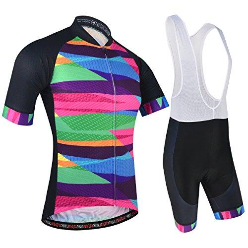 BXIO Radtrikot Herren Kurzarm, Radsportanzug Schnell Trocken und Fahrrad-Trägerhose mit Sitzpolster für Pro Team, Elegantes Muster, Gleb (Colorful(197,bib Shorts), 2XL)